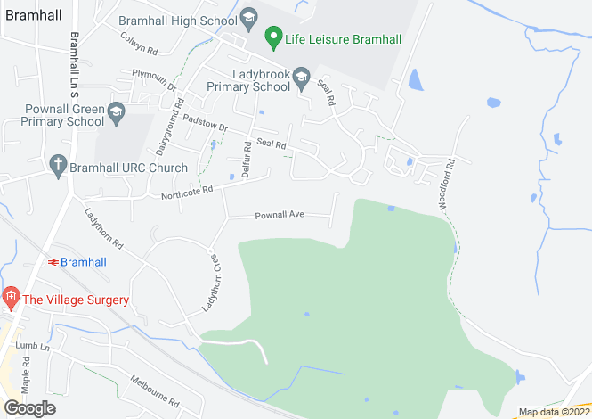 Map for Pownall Avenue, Bramhall, STOCKPORT, Cheshire