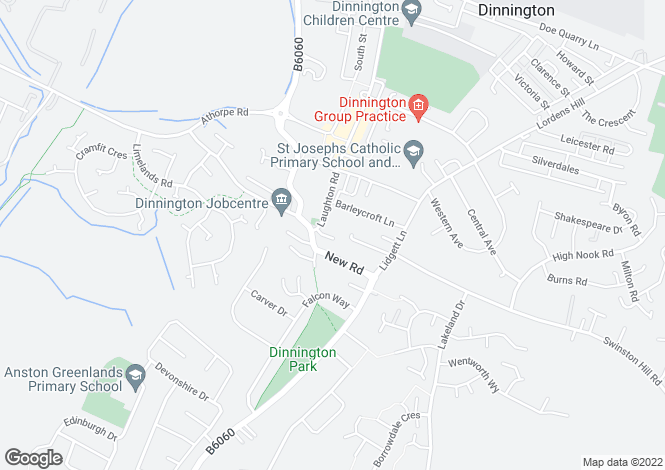 Map for Dynne Court, Middbern,, Dinnington, S25 2PL