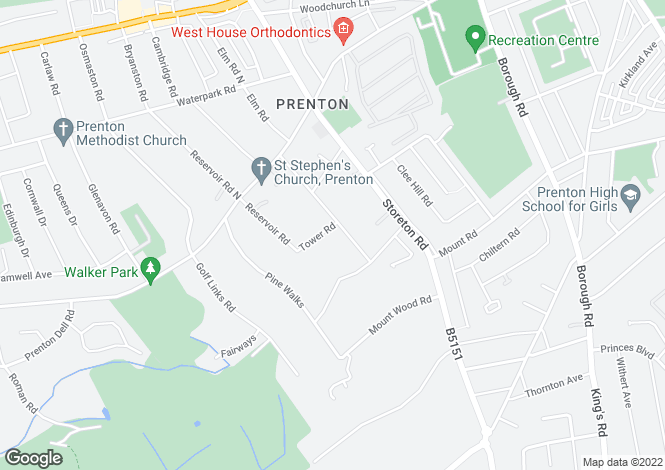 Map for Prospect Road, Prenton, Wirral