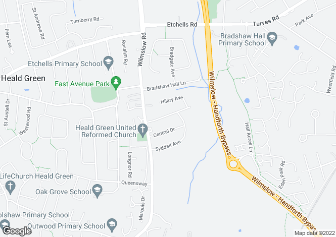 Map for Dawson Road, Heald Green, Stockport, Cheshire
