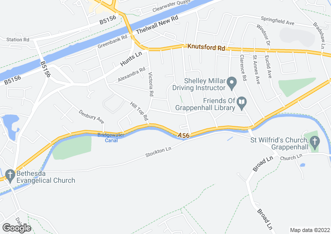 Map for York Road, Grappenhall, Warrington, Cheshire