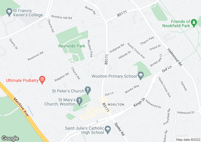 Map for Woolton, Liverpool L25