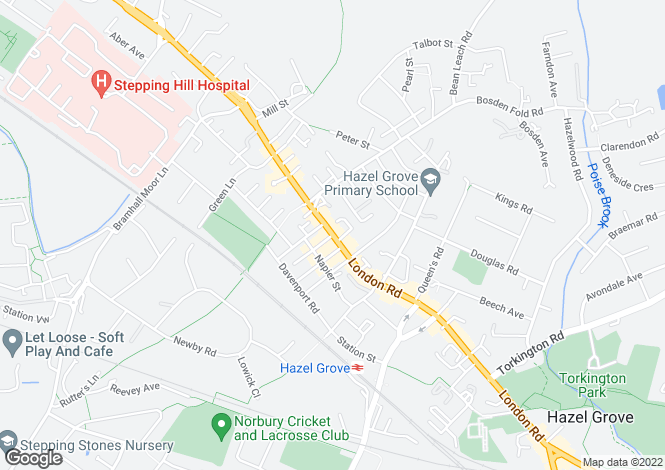Map for LONDON ROAD, HAZEL GROVE, STOCKPORT, SK7