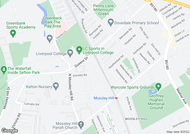Map for Sands Road, Mossley Hill, Liverpool L18