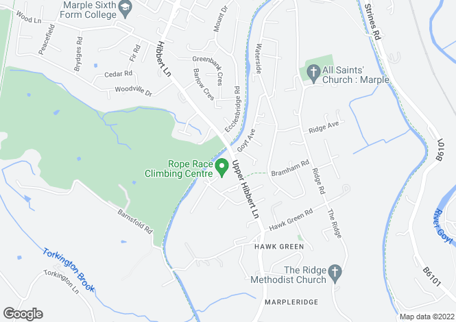 Map for Upper Hibbert Lane,