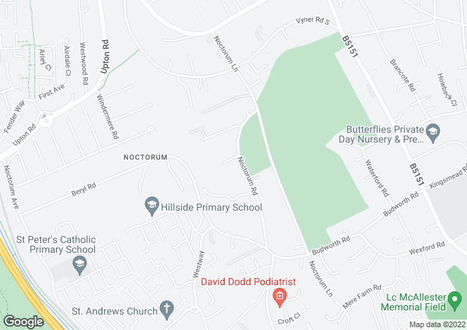 Map for Noctorum Road, Noctorum, Wirral
