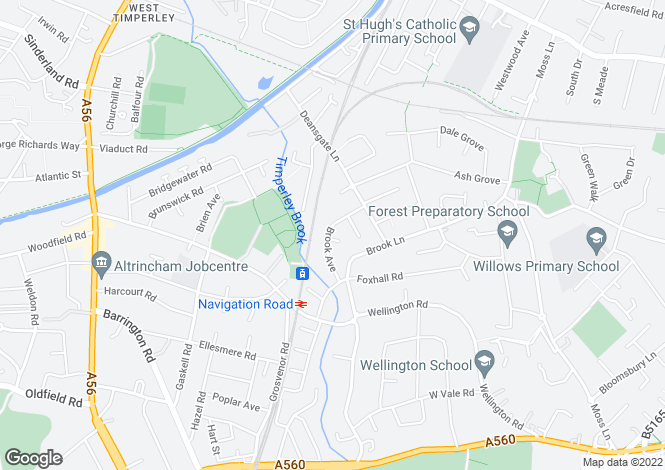 Map for Brook Avenue, Timperley, Altrincham WA15