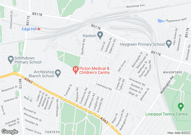 Map for Cranborne Road, Wavertree L15 2HZ