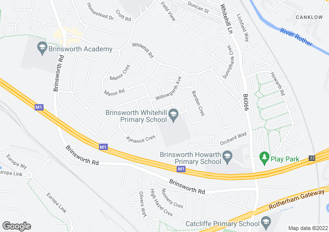 Map for Howlett Drive, Brinsworth