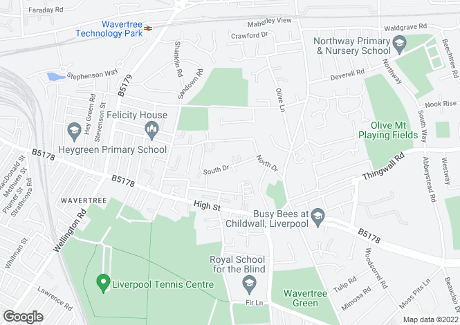 Map for 31 SOUTH DRIVE, WAVERTREE, LIVERPOOL