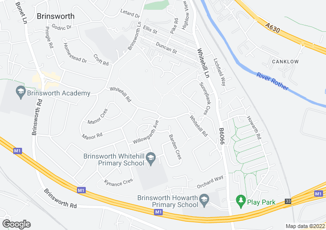 Map for Whitehill Road, Brinsworth, ROTHERHAM, South Yorkshire