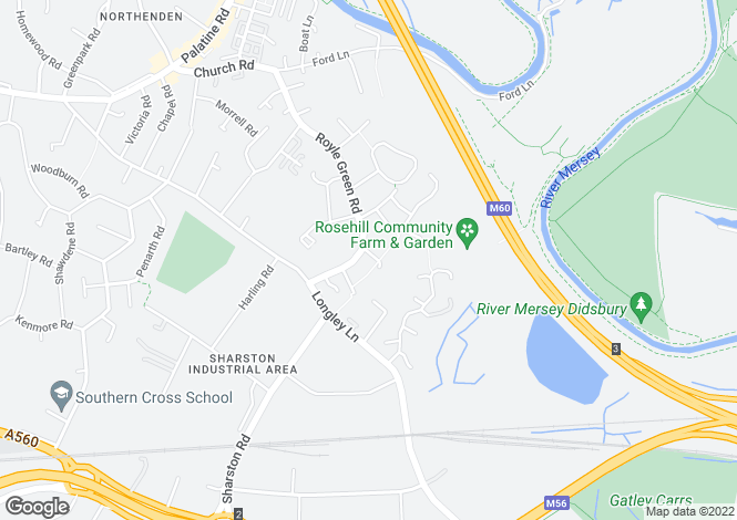 Map for Kerfoot Close, Northenden, Manchester