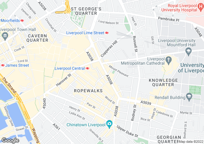 Map for 45, Ranelagh Street, Liverpool, L1 1JR