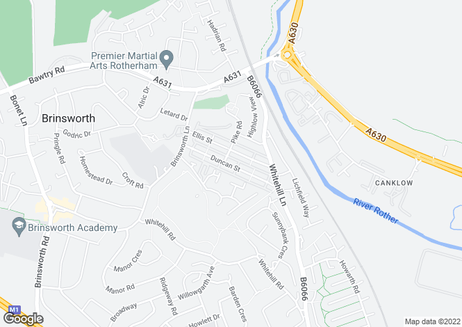 Map for Duncan Street, Brinsworth, Rotherham, S60