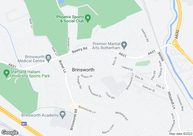 Map for Blackmoor Crescent, Brinsworth, Rotherham S60