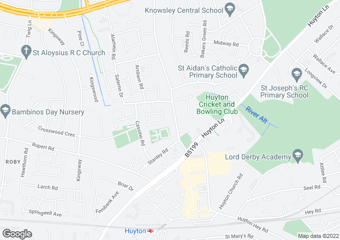 Map for Blue Bell Lane, Huyton, Liverpool, L36