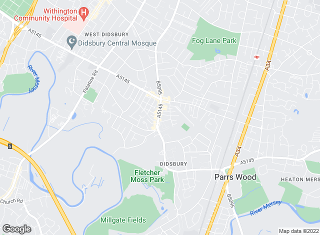 Map for Jordan Fishwick, Didsbury