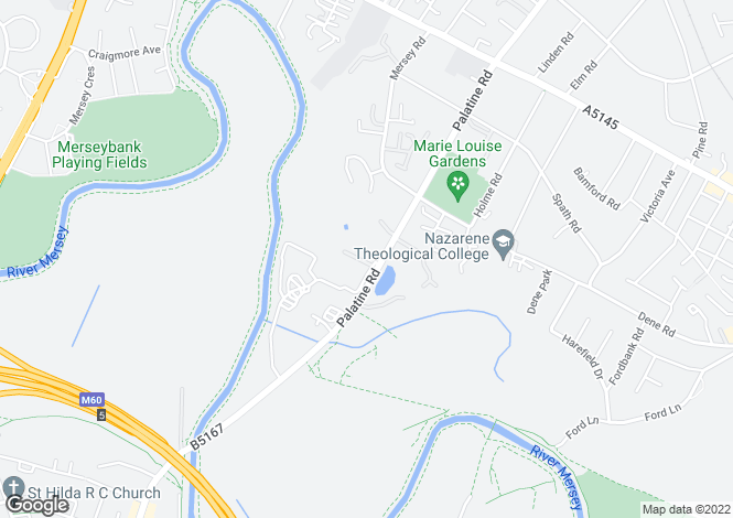 Map for Riverside Lodge, 208 Palatine Road, Didsbury, Manchester, M20