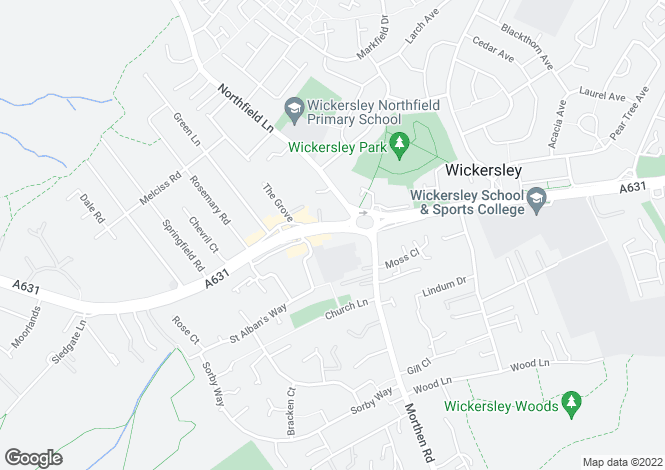 Map for Bawtry Road, Wickersley, Rotherham S66