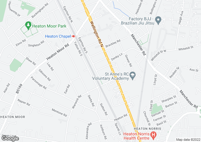 Map for Brantwood Road, Heaton Chapel, Stockport