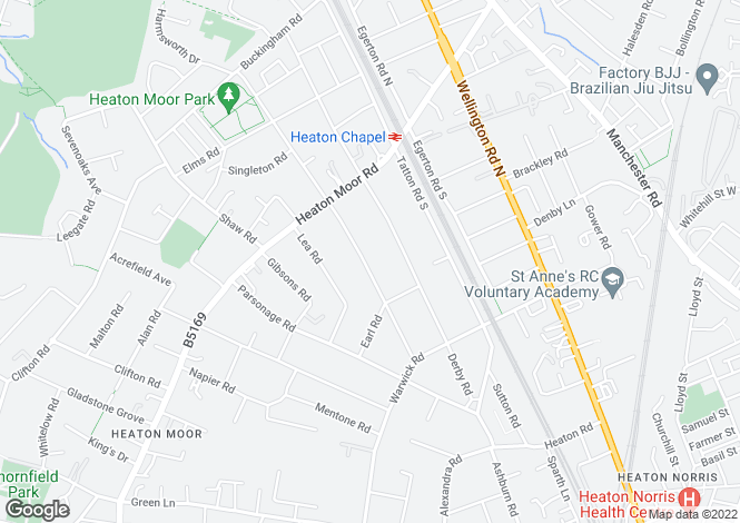 Map for Broomfield Road, HEATON MOOR, Stockport