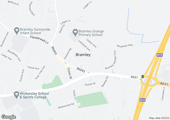 Map for Ormesby Way, Bramley, Rotherham S65 2SL