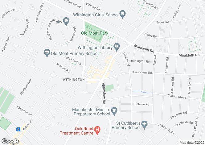 Map for Wilmslow Rd, Withington