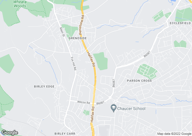 Map for Halifax Road, Grenoside, Sheffield