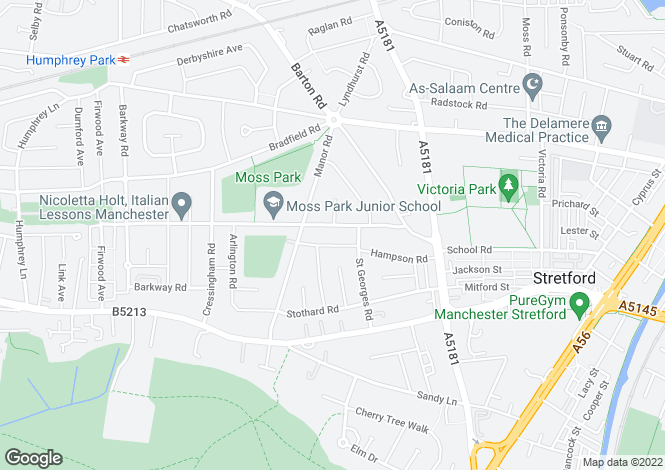 Map for MOSS PARK ROAD, STRETFORD, MANCHESTER M32 9HZ