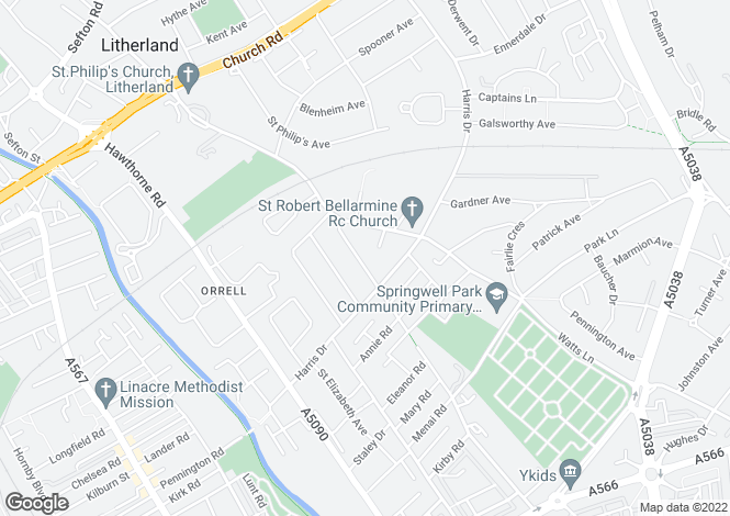 Map for Springwell Road, Liverpool, Merseyside