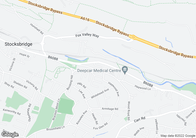 Map for Ashfield Road, Deepcar, Sheffield, S36 2PE