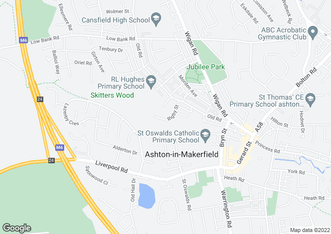 Map for Rigby Street, Ashton-in-makerfield, WN4
