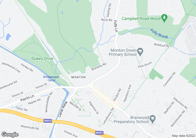 Map for Brackley Road, Monton, Manchester