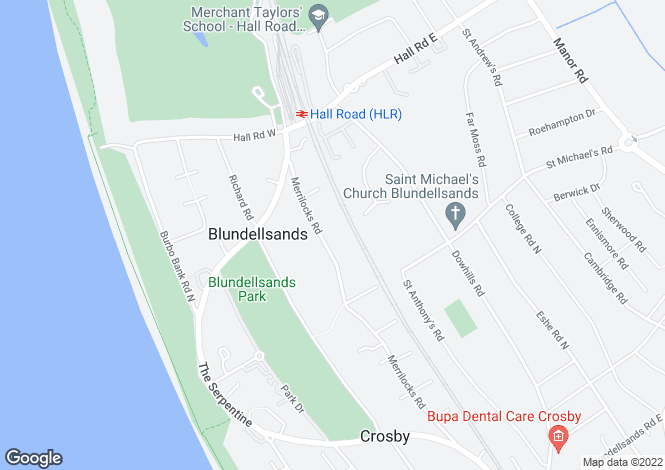 Map for Merrilocks Road, Blundellsands, Liverpool, L23 6UW