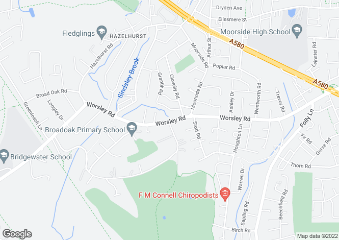 Map for Worsley Road, Swinton, Manchester M27