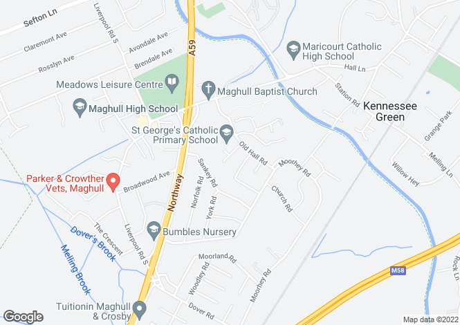 Map for Dennett Close, Maghull, Merseyside