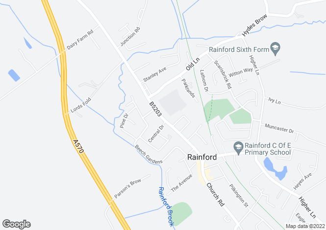 Map for Ormskirk Road, Rainford