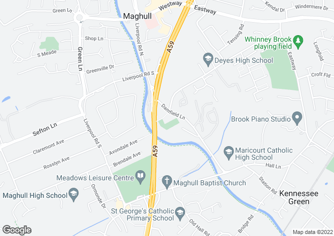 Map for Damfield Lane, Maghull