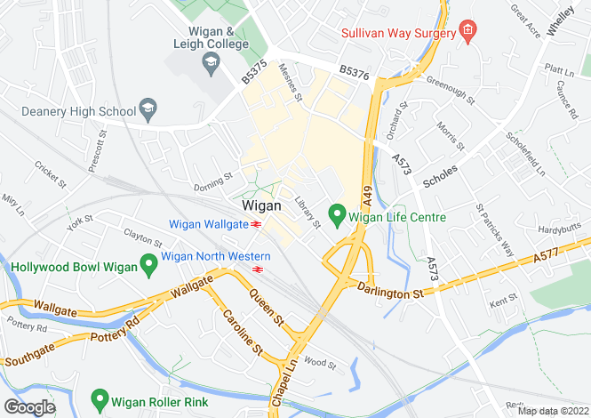 Map for Unit 4, Library Street, Wigan