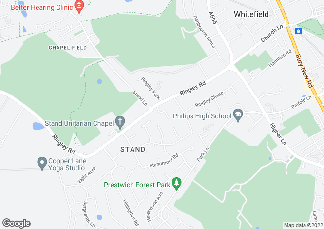 Map for Ringley Hey, Whitefield, MANCHESTER, Lancashire