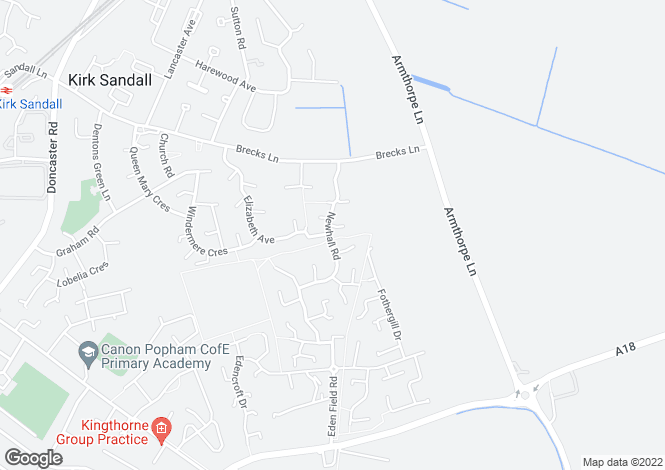 Map for Newhall Road, Kirk Sandall, Doncaster DN3