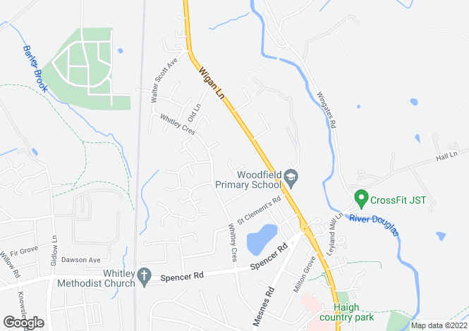 Map for Kingsdown Crescent, Wigan, Lancashire, WN1