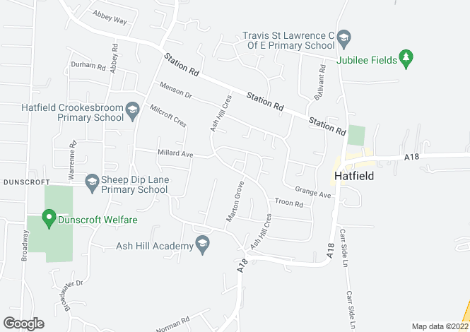 Map for Ash Hill Crescent, Hatfield, Doncaster