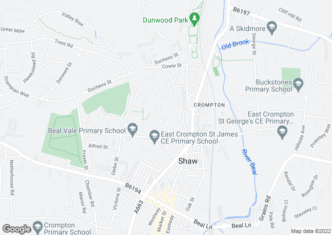Map for Kingston Close, Shaw, Oldham