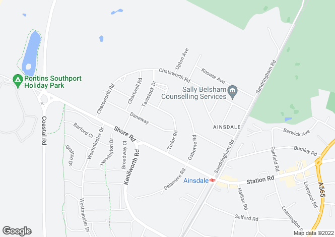 Map for Tudor Road, Ainsdale, PR8