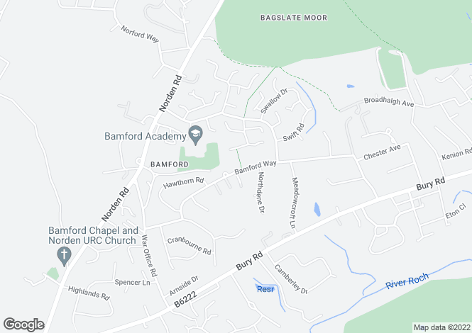 Map for Bamford Way, Rochdale, Lancs