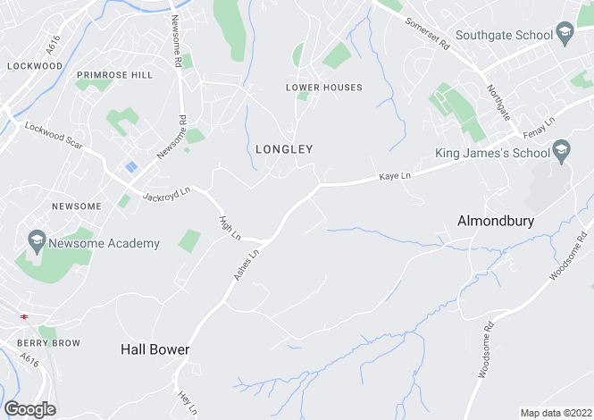 Map for Ashes Lane, Almondbury, Huddersfield, HD4