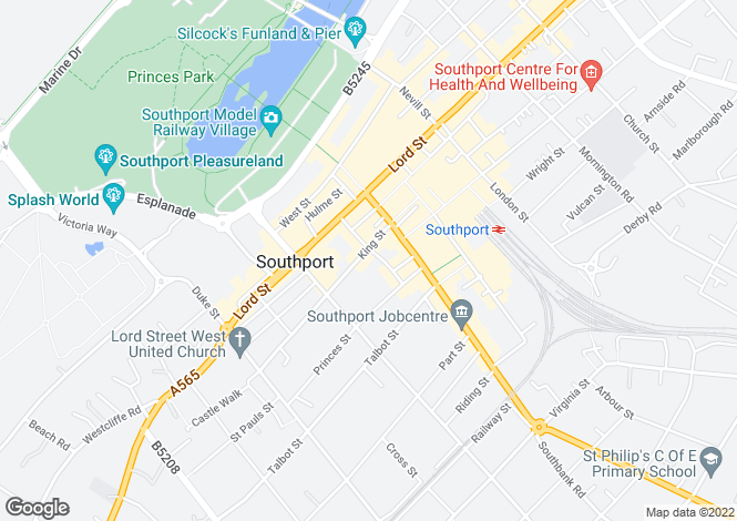 Map for Southport, Merseyside
