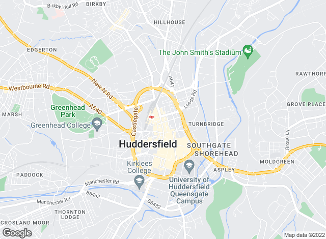 Map for Hunters, Huddersfield