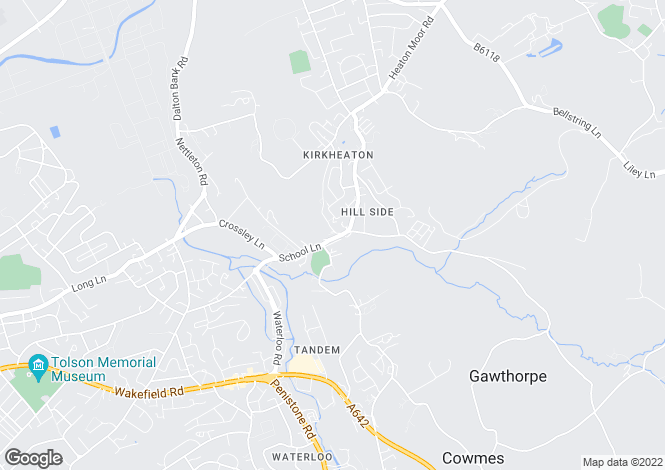 Map for Hillside, Kirkheaton, Huddersfield